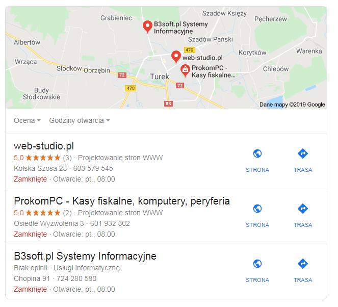 Tworzenie wizytówek Google projektowanie